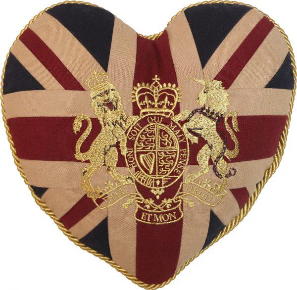 Royal Crest-Vintage Heart-Shaped Cushion