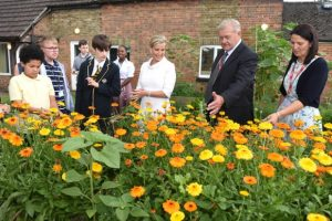 HRH The Countess of Wessex visiting the award-winning cottage garden at Baston House School