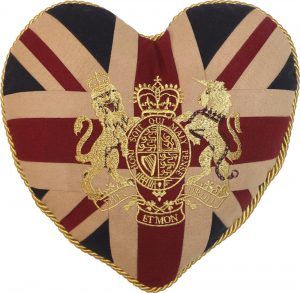 Royal Crest-Vintage Heart-Shaped Cushion