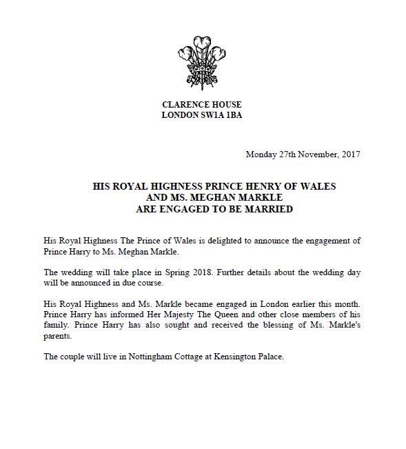 Prince Harry engaged to Ms. Meghan Markle
