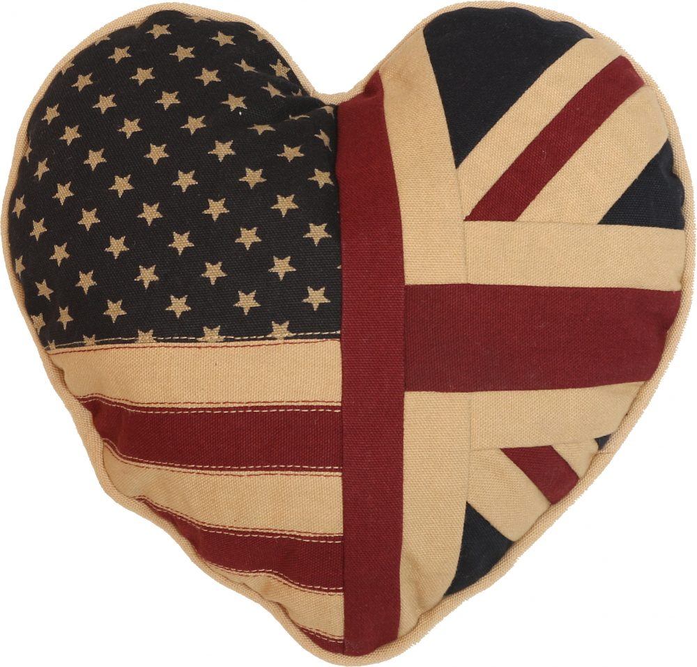 Vintage Union and American Flag Heart-Shaped Cushion