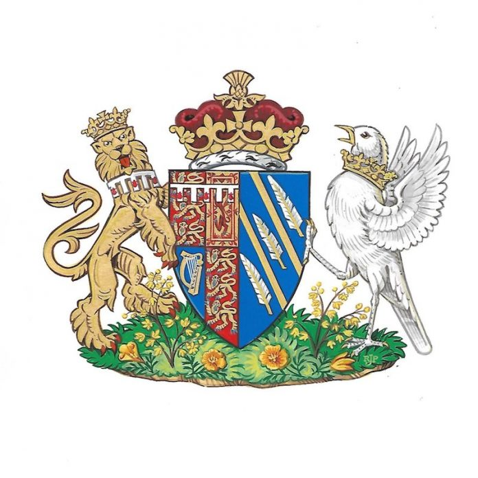 A Coat of Arms has been created for The Duchess of Sussex. The design of the Arms was agreed and approved by Her Majesty The Queen and Mr. Thomas Woodcock