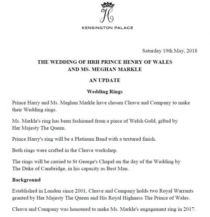 Wedding Ring Details Revealed