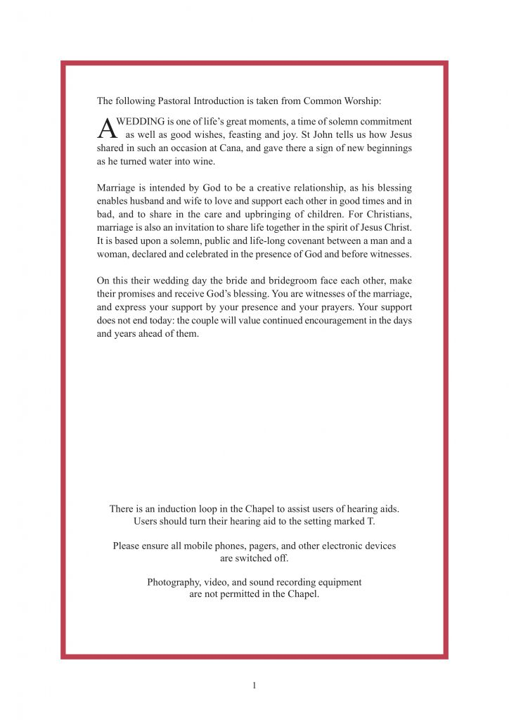 Royal Wedding Order of Service Page 2