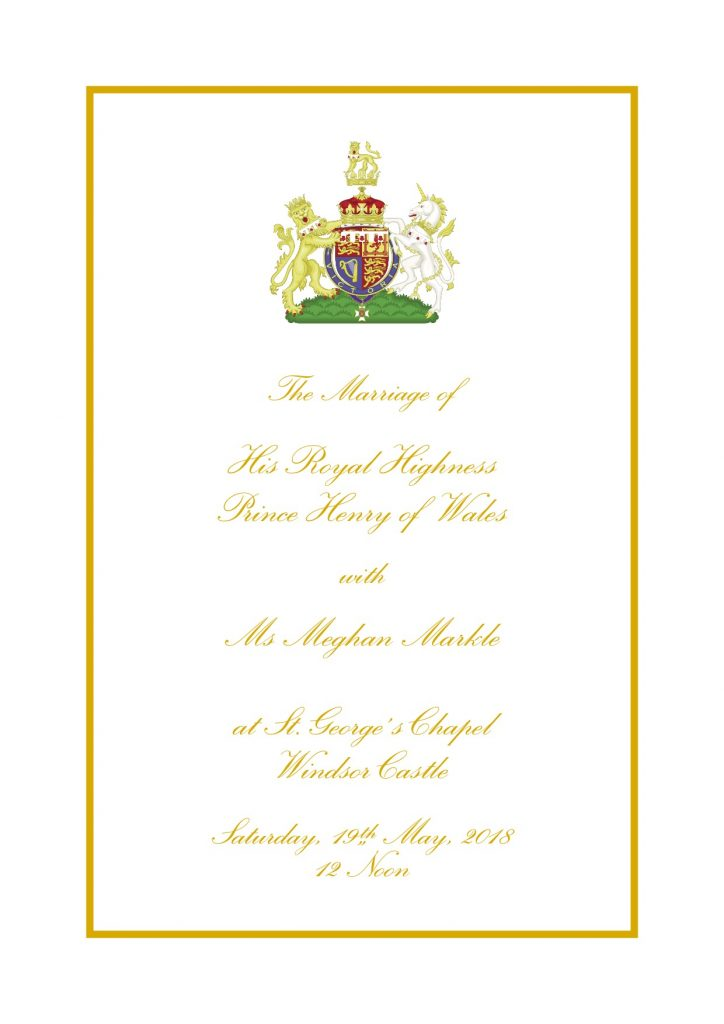 Royal Wedding Order of Service Page 1