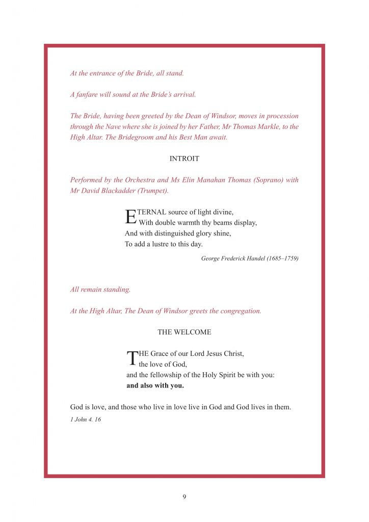 Royal Wedding Order of Service Page 10