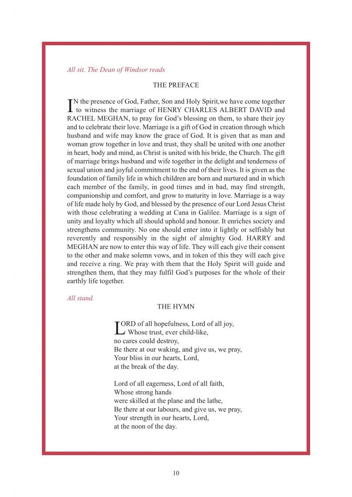 Royal Wedding Order of Service Page 11