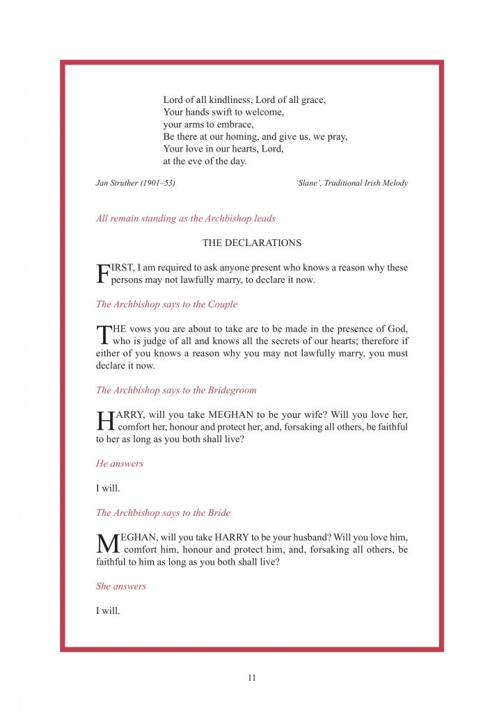 Royal Wedding Order of Service Page 12