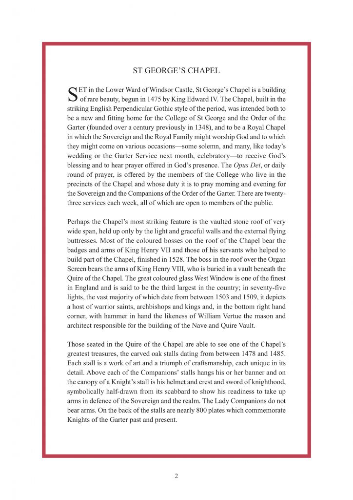 Royal Wedding Order of Service Page 3