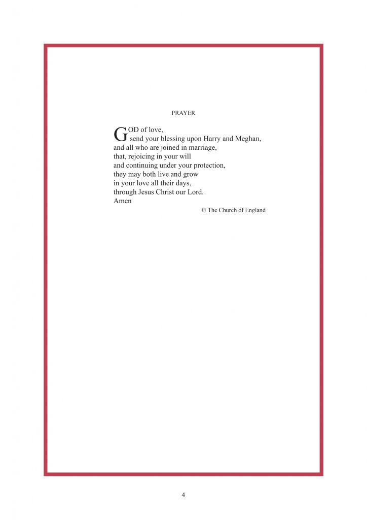 Royal Wedding Order of Service Page 5