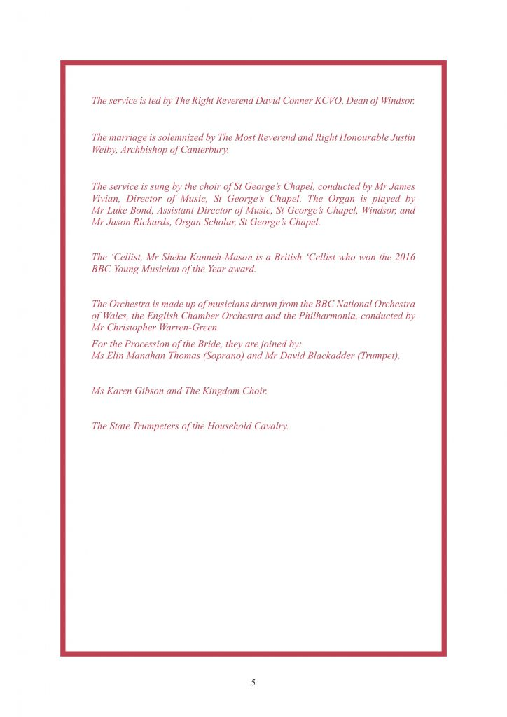 Royal Wedding Order of Service Page 6