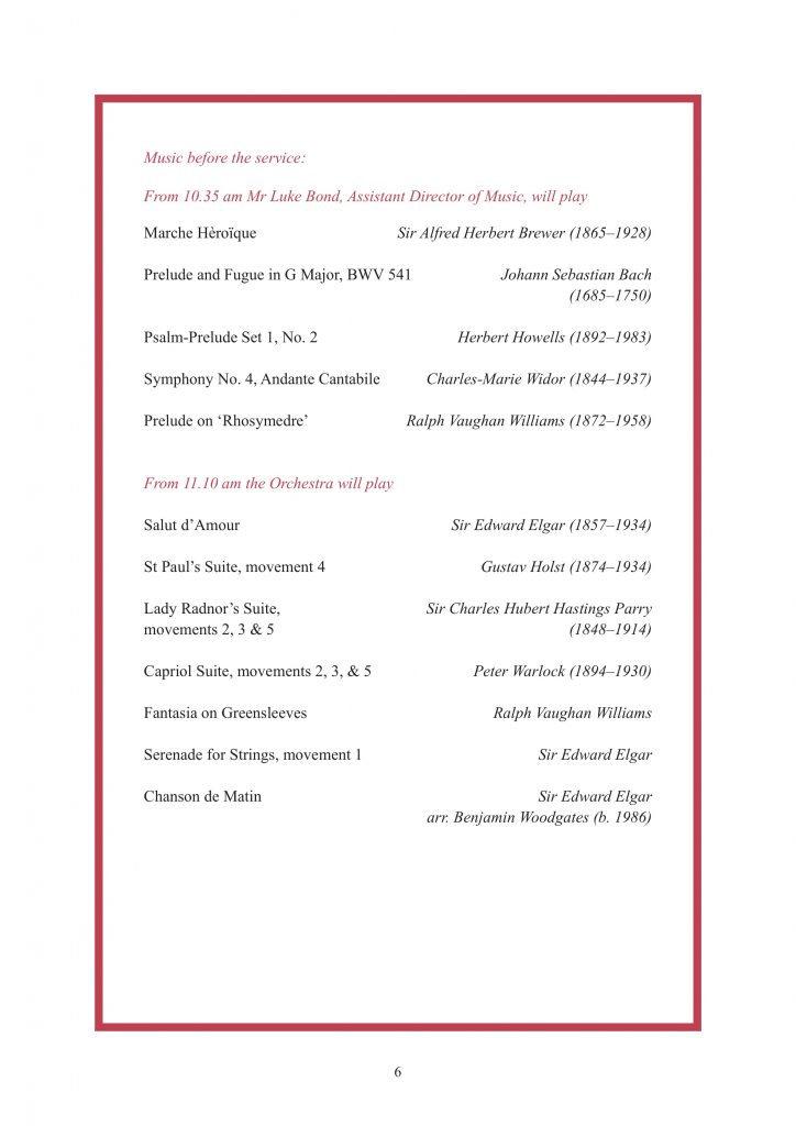Royal Wedding Order of Service Page 7