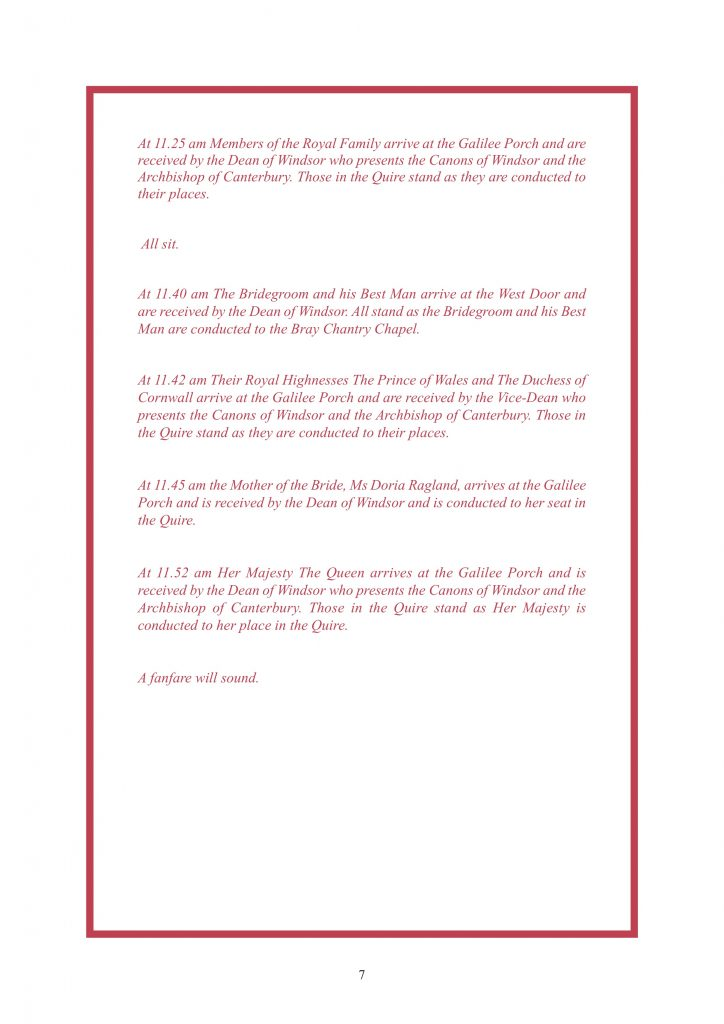 Royal Wedding Order of Service Page 8