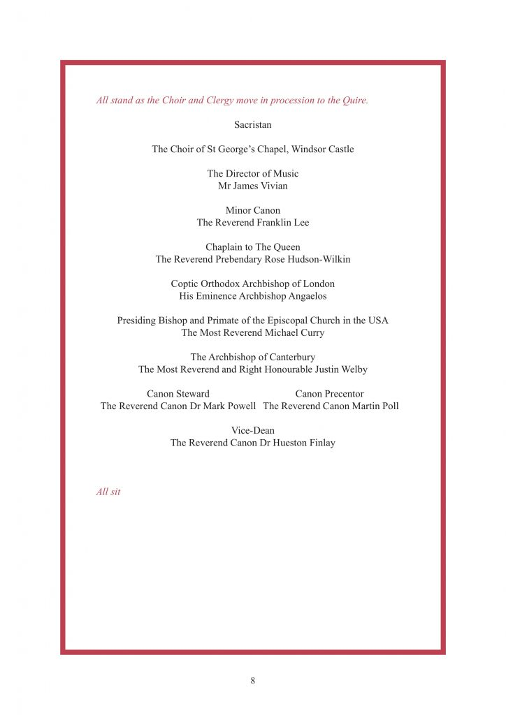 Royal Wedding Order of Service Page 9