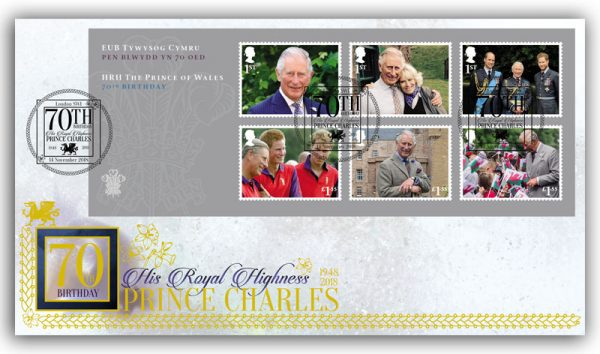 Celebrate the 70th Birthday of Prince Charles with this limited edition first day cover featuring six new stamps in a new miniature sheet.