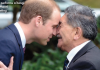 Prince William performs a hongi - a traditional Maori nose press greeting