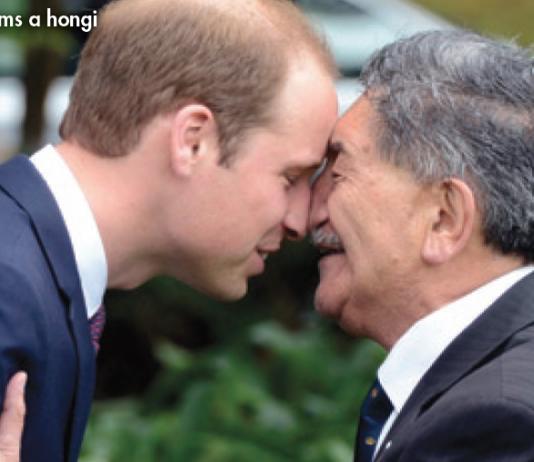 Prince William performs a hongi - a traditional Maori nose press greeting