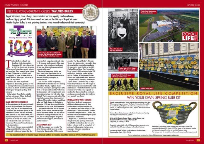 Royal Warrant Holders -O A Taylor & Sons Bulbs Ltd