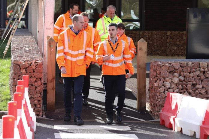 The Duke of Cambridge (left) during a visit to the Tarmac National Skills and Safety Park in Nottinghamshire