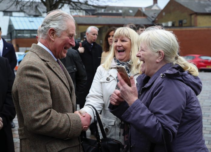 The Prince of Wales meets residents and businesses affected by Storm Dennis February, 2020.