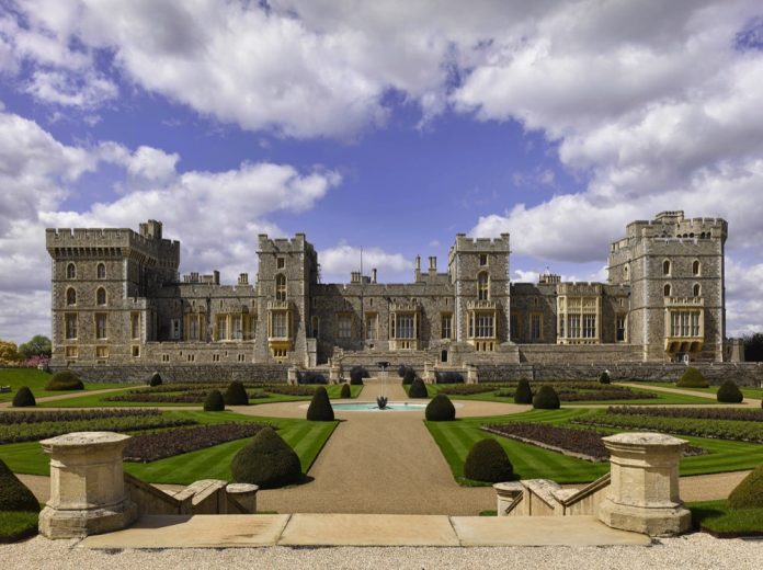 The east façade of Windsor Castle and the East Terrace Garden