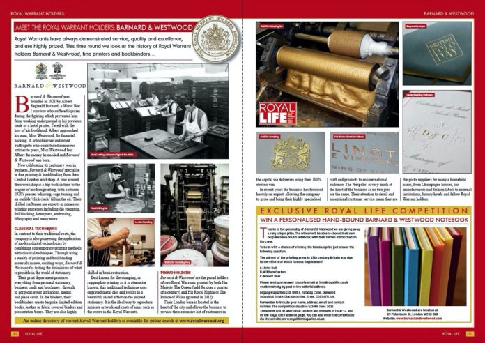 Royal Warrant Holders Barnard & Westwood - Royal Life Magazine Issue 50