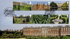 Hampton Court Palace first day cover featuring full-set of six Hampton Court Palace stamps and a special Hampton Court Palace, Molesey postmark.