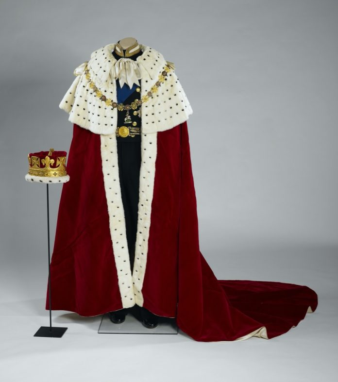 The Coronation Robe and Coronet worn by HRH The Prince Philip, Duke of Edinburgh during Her Majesty The Queen's Coronation on 2 June 1953. Credit: Royal Collection Trust/All Rights Reserved
