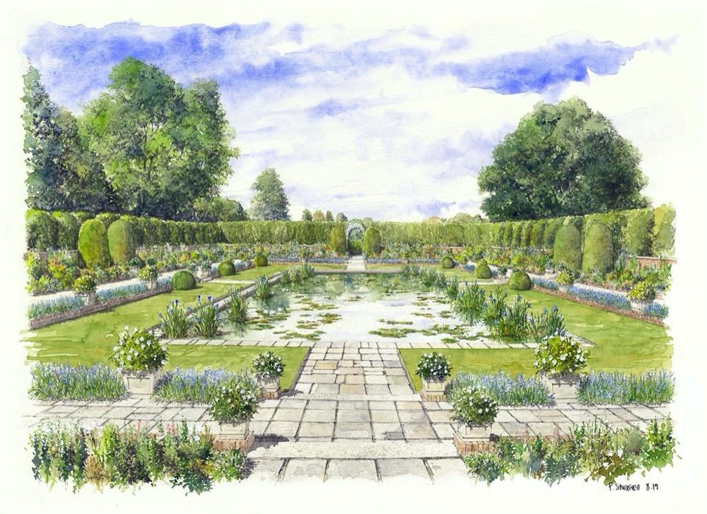 Artist's Impression of the Sunken Garden at Kensington Palace. Credit: Historic Royal Palaces